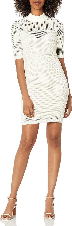 GUESS Women's Short Sleeve Open Stitch Lacey Dress