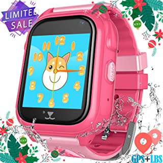 Kids Smartwatch Phone for Girls Boys - Children Touch Phone Wrist Watch with SOS Call Voice Intercom Camera Flashlight Voice Maths Game for Students Age 4-12 (02 S8 Pink, GPS+WP Watch)