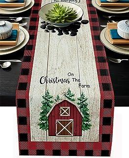 مفرش طاولة من الكتان من BRINGMEHOME مفرش طاولة المطبخ لعيد الميلاد 228.6 سم طول لحفلات العشاء، الزفاف، الأحداث، ديكور شجرة...