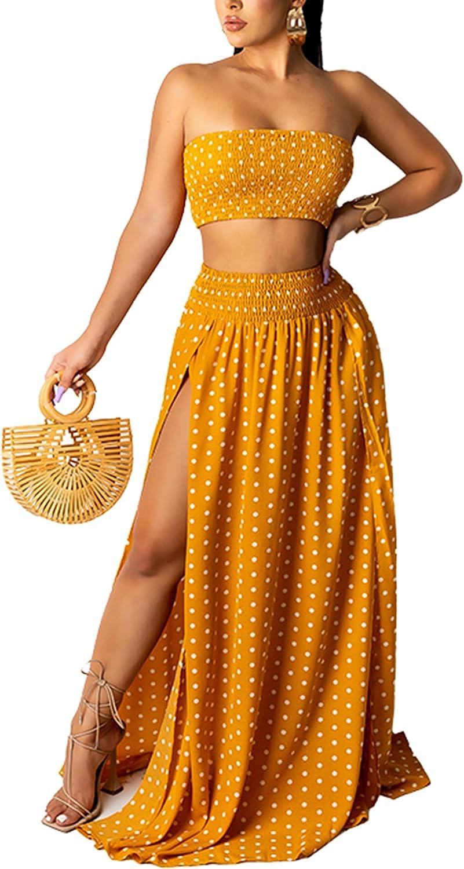 Women Summer 2 Piece Skirt Set Mini Tube Top + High Waist Side Split Dress Polka Dot Skirts Outfit Yellow