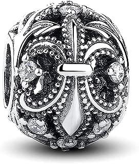 Romántico Amor 925 Sterling Silver Fleur De Lis Flower Charm Clear CZ Bead Fit Pandora Charm Bracelet