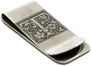Stainless Steel Letter T Initial Floral Box Monogram Engraved Money Clip Credit Card Holder