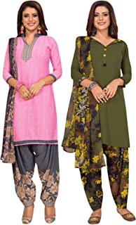 S Salwar Studio Women's Pack of 2 Synthetic Printed Unstitched Dress Material Combo-MONSOON-2862-2871
