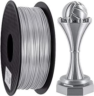 PLA Filament 1.75mm, GEEETECH Silk PLA 3D Printer Filament, Silk Silver, 1kg Spool, Dimensional Accuracy +/- 0.03mm