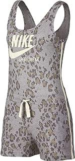 Nike Women's NSW Gym VNTG RMPR LEOPARD Jumpsuit, Green(Atmosphere Grey/Sail/Sail059), Large