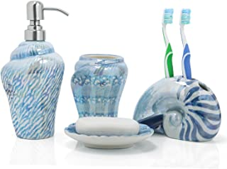 FORLONG Conch Sea Shell Ceramic Bathroom Accessories Set of 4,1 Gargle Cups 1 Toothbrush Holders 1 Soap Dishes 1 Soap Dispenser Blue