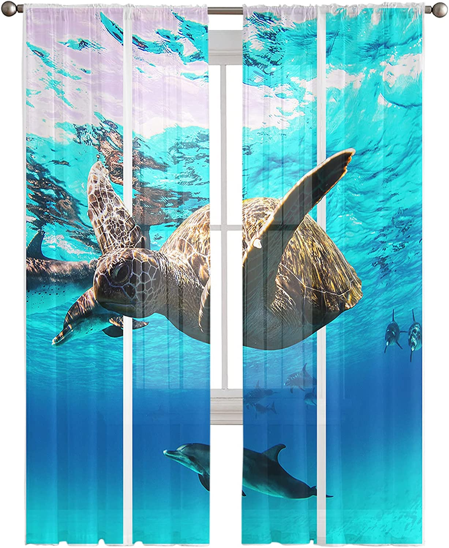 Semi Sheer Window Curtain 63 Inches Dallas Mall half Sea Turtle Ocean Long Blue