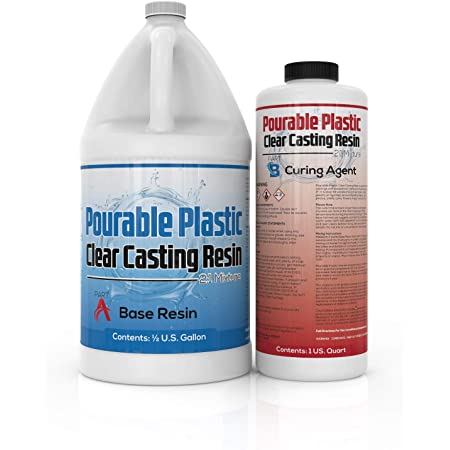 """Pourable Plastic Deep Pour Up To 2"""" Thick USA Manufactured Clear Casting Resin 3 Quart Kit Perfect For River Tables & Castings – Low Odor Epoxy, a 2:1 Ratio"""