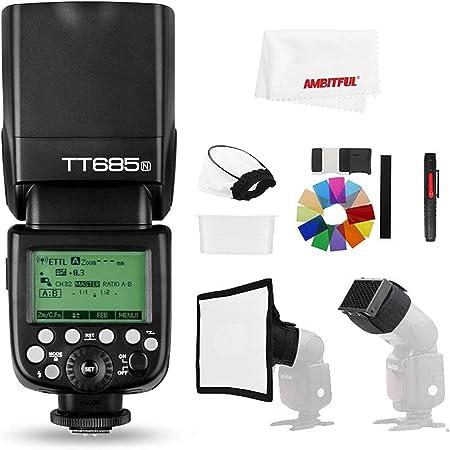 【正規品 技適マーク&日本語説明書】Godox TT685N HSS 1 / 8000S GN60 TTLフラッシュスピードライト 0.1-2.sリサイクル時間230フルパワーフラッシュTTL / M/マルチ/ S1 / S2モードをサポートする22ステップのパワ ー出力20〜200mmオート/マニュアルズーム Nikon カメラに対応用 (TT685N)