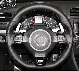 JI Loncky Black Genuine Leather Auto Custom Steering Wheel Covers for 2010-2014 VW Mk6 Golf 6 GTI / 2012-2014 VW Jetta GLI / 2012 2013 VW Golf R / 2014-2016 VW Tiguan R-Line Accessories