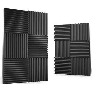 "Siless 12 pack Acoustic Panels 1"" X 12"" X 12"" – Acoustic Foam - Studio Foam Wedges - High Density Panels – Soundproof Wedges (Charcoal)"