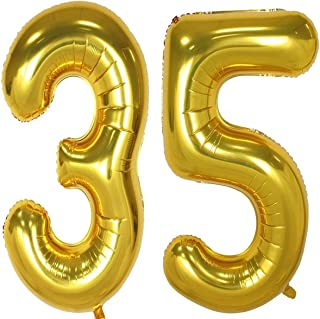 40inch Gold Foil 35 Helium Jumbo Digital Number Balloons, 35th Birthday Decoration for Girls or Boys, sweet 35 Birthday Party Supplies