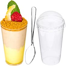 DLux 100 x 3 oz Mini Dessert Cups with Lids and Spoons, Shooter - Clear Plastic Parfait Appetizer Cup - Small Disposable Reusable Shot Glass for Party Shooters Desserts Appetizers - With Recipe Ebook