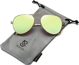fc4565cf5a SOJOS Gafas de Sol de Metal Clásico Marco del Espejo Lente Con las Bisagras  del Resorte