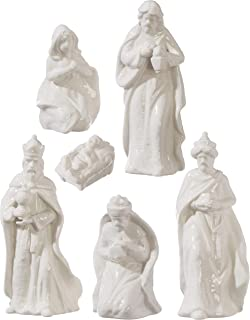 RAZ Imports White Glazed Porcelain 6 Piece Nativity Scene Set
