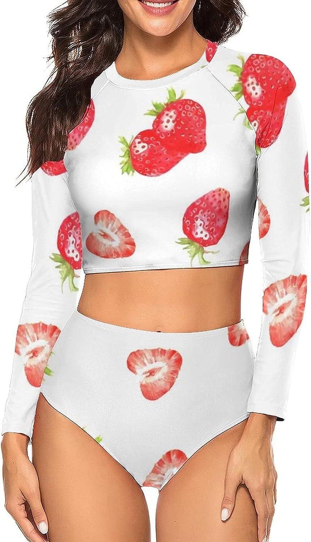 Tvsuh-u Womens Bathing Suit 2 PCS Watercolor Strawberry Long Sleeve Rash Guard Swimsuits UV Protection Swimming Suit