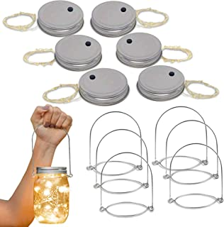 Brass Tacks 6 Pack Mason Jar Lid Fairy Lights, 10 LED Jar Lid Fairy String Lights with 6 Jar Hangers, Indoor/Outdoor Decorations for Parties, Gardens, Holidays