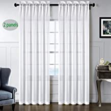 sgofais Voile Sheer Curtains Rod Pocket Window Privacy White Soft Thin Panels Drapes for Room,2 Panels(52''x63''Length White)