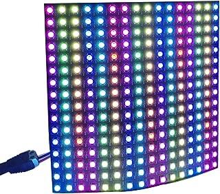 CHINLY WS2812b Pixel Matrix, 16x16 256 Pixels WS2812B Digital Flexible LED Panel Programmed Individually addressable Dream Screen DC5V