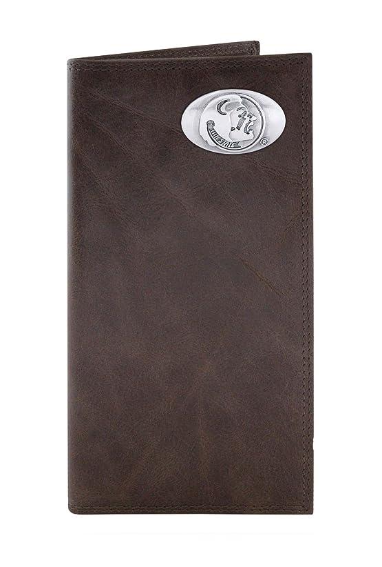 腐敗同様のスケジュールNCAA Florida State Seminoles Brown Wrinkle Leather Roper Concho Wallet, One Size