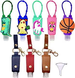 AKP Accessories Hand Sanitizer Holder Keychain (8 Set Variety Pack) 3 PU Leather and 5 Silicone Cases with 8 Empty Reusabl...