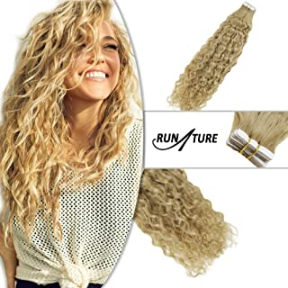 Runature Tape In Natural Wavy Hair 18 Inches Color 27 Strawberry Blonde Color 50 Gram Tape Extensions Human Hair For Women Tape In Real Remy Hair Extension with 20 Pieces
