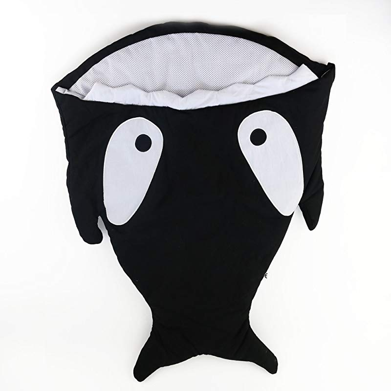 WEWILL Super Comfy Cartoon Shark Sleeping Bag Anti Kicking Newborn Sacks Swaddle Blanket 34 Inch Black