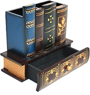 Decorative Library Books Office Accessories Supply Caddy Pencil Holder Desk Organizer with Bottom Drawer Stationary Produc...