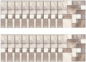 W 10.6 cm, grosor 0.4 /– 0.5 mm resistente al agua PVC cenefas de pared para sal/ón decoraci/ón de pared cuarto de ba/ño 10 m de papel pintado resistente al agua dormitorio