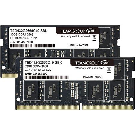 Team ノートPC用 SO-DIMM DDR4 2666MHz PC4-21300 32GBx2枚組 64GBkit 無期限保証