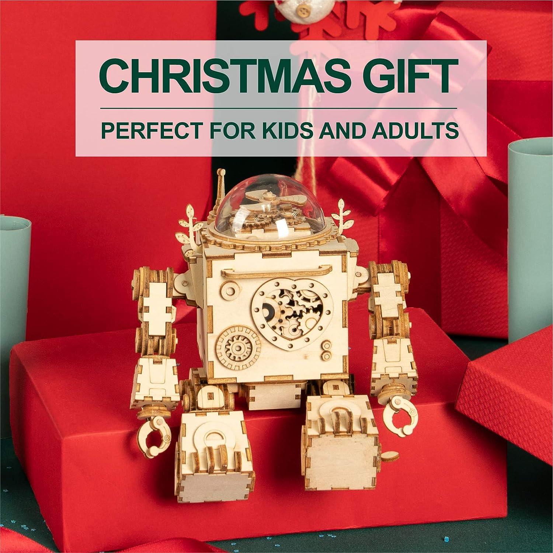 Robotime Roboter Spieluhr Holz 3D Puzzle Modell bausatz Erwachsene DIY Kinder Set Bauen bastelset Geburtstag Geschenk Junge Mädchen Orpheus