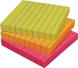 ملاحظات لاصقة مبطنة 3 × 3، 3 حزم، 300 ورقة (100 / حشوة)، ملاحظات ذاتية اللصق مع خطوط، ألوان زاهية متنوعة، من أفضل المنتجات...