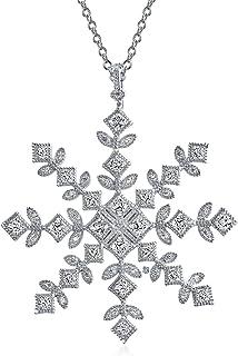 Bling Jewelry in Vintage Zirconi Cubici CZ Inverno Vacanze Natale Fiocco Neve Grandi Dimensioni Collana Pendente Donne Arg...