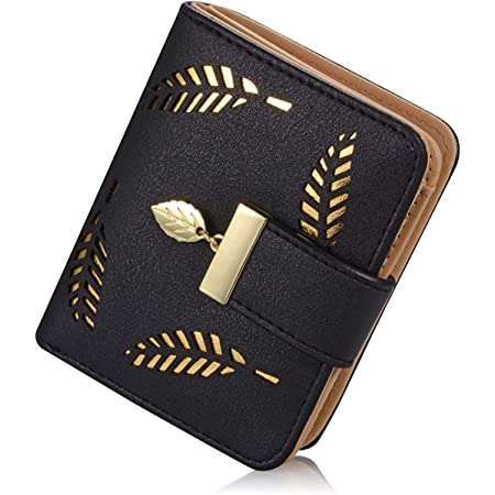 Portemonnaie Damen, Klein Leder Geldbörse Bifold Brieftasche Handtasche mit Bargeld/ID/Kreditkarte Halter, Frauen Vegane Geldbeutel Kleine Geldbörsen mit Reißverschluss für Damen Mädchen (Black)