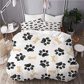 TARTINY Duvet Cover Set, Background Dog paw Print Bone, Decorative 3 Piece Bedding Set with 2 Pillow Shams