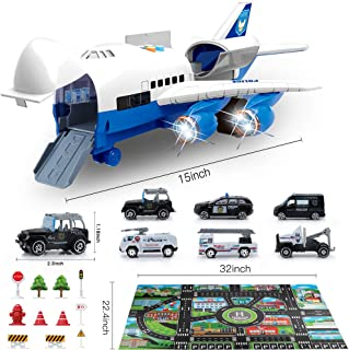 Bimonk Police Car Toy Set with Airplane, Educational Vehicles and Inertia Wheel Airplane Toys for 3 4 5 6 Years Old Boys, ...