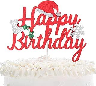 Christmas Happy Birthday Cake Topper - Winter Festival Feast Glitter Christmas Hat Boots Cake Décor - Baby Shower Kids Birthday Party - Joyeux Noel Merry Christmas Decoration