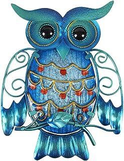 Liffy Metal Owl Wall Decor Outdoor Hanging Art Blue Glass Bird Sculpture for Patio, Porch or Door