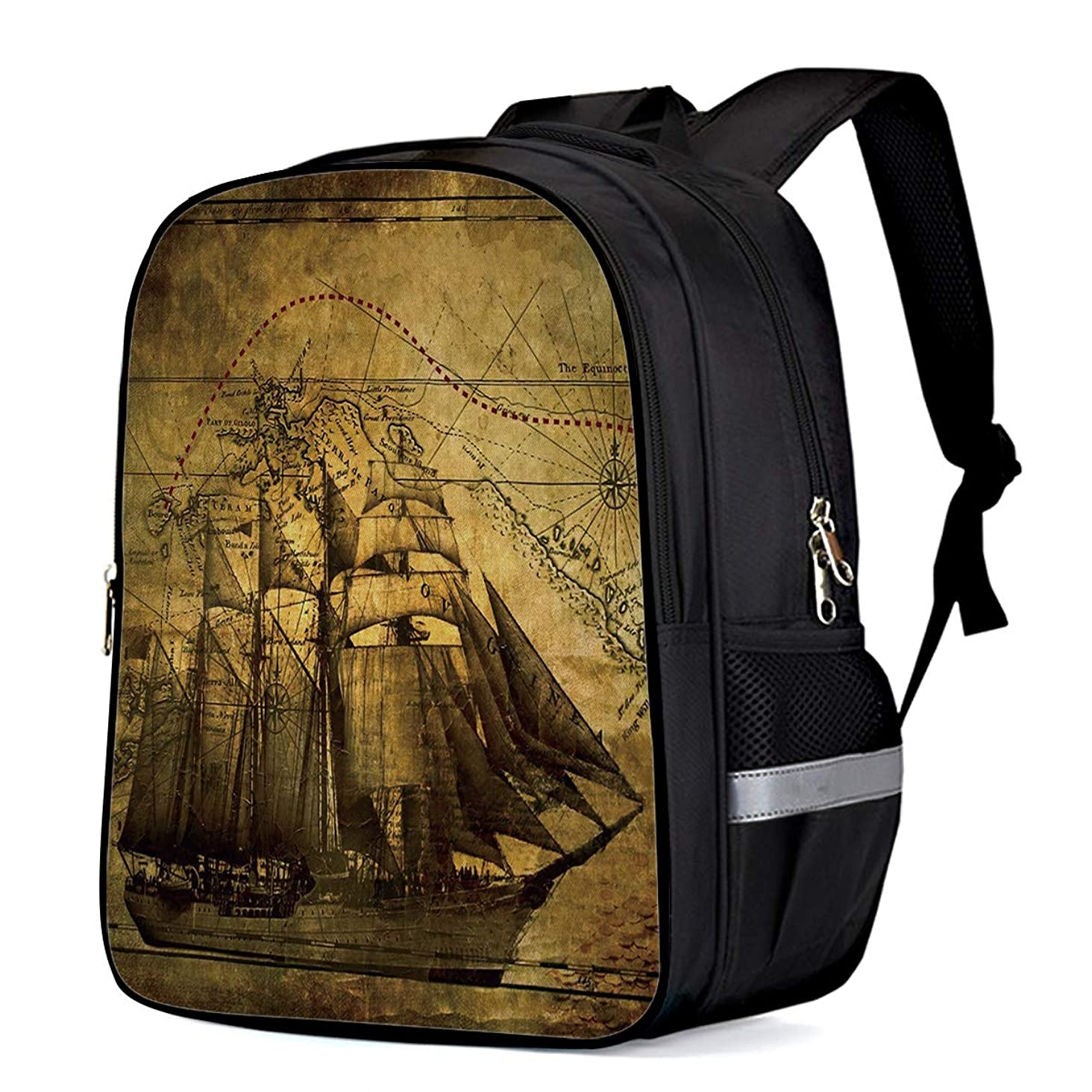 Kids School Backpack Travel Durable Oxford Fabric Daypack, Retro Kraft Paper Sailing Ship Chart Student Schoolbag with Pockets for Boys/Girls 15.7 x 12 x 6.5in