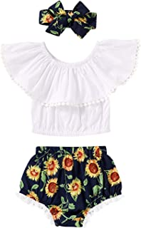 YOUNGER TREE Newborn Baby Girl Clothes Sunflower Short Set with Headband 3Pcs Summer Outfit Set