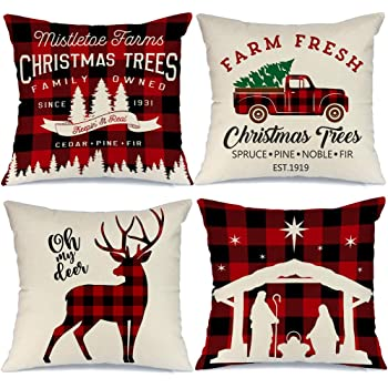 EE/_ CHRISTMAS ELK BALL TREE PILLOW CASE CUSHION COVER XMAS HOME DECOR GIFT FADDI