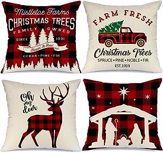 AENEY Buffalo Plaid Christmas Pillow Covers 18×18 Set of 4 Christmas Pillows Xmas..