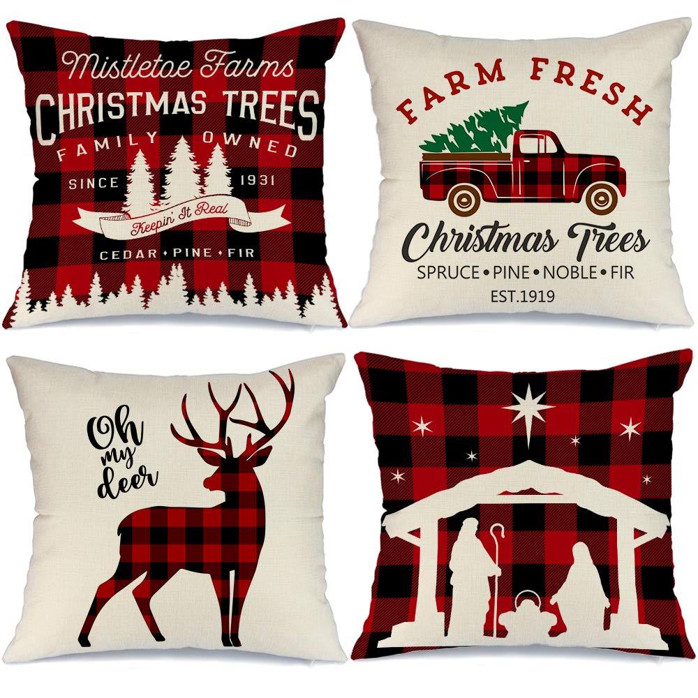 Aeney Farmhouse Christmas Pillow Covers 18x18 Set Of 4 For Christmas Decor Buffalo Check Red Truck Throw Pillows Black And Red Buffalo Plaid Christmas Decorations Throw Pillow Covers Home Amazon Com Au