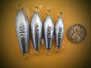 40 Pcs. in Line Trolling Fishing Weights Sinker Fishing Supplies Gear and Equipment 1-1/2, 1, 3/4, 1/2 Oz. 10 Ea.