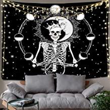 Hexagram Skull Tapestries Psychedelic Sun and Moon Tapestry Hippie Skeleton Wall Art Trippy Black and White Tapestry Wall Hanging Small Tarot Wall Tapestry for Bedroom Halloween Decorations