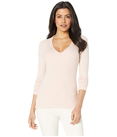 Three Dots Luxe Rib Long Sleeve V-Neck Top (Carnation) Women