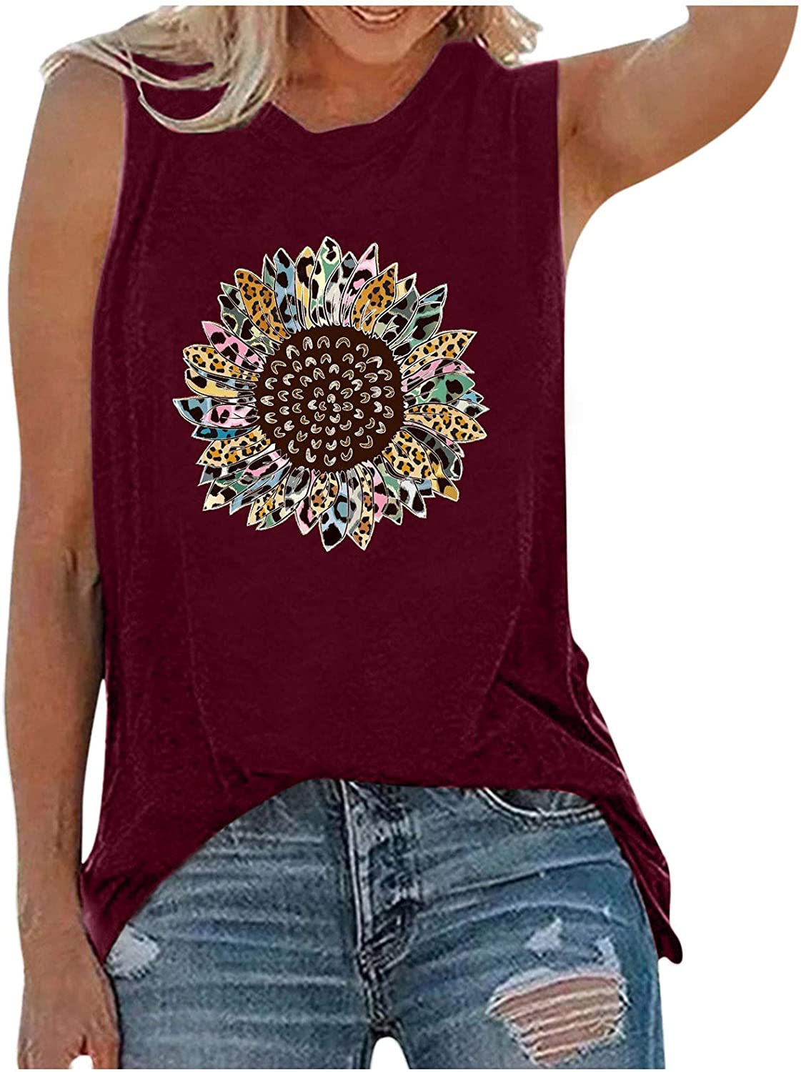 Tank Tops for Women,Womens Tops for Independence Day Women Sleeveless O-Neck Vest Tank Shirt Tops