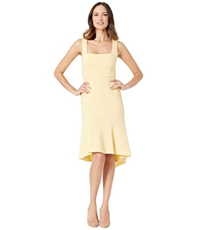 Donna Morgan Sleeveless Square Neck Crepe Dress (Daffodil) Women