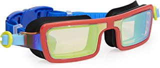 Bling 2O Kids Swimming Goggles - Red Retro 80's Style Swim Goggles for Boys and Girls - Anti Fog, No Leak, Non Slip, UV Protection with Hard Travel Case - 8+