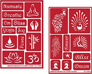 2 Armour Etch Over N Over Reusable Glass Etching Stencils Set | Yoga Theme with Namaste, Om, Lotus Flower, Bliss, Feather, Peacock Designs